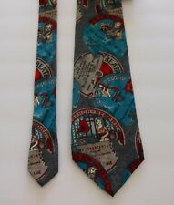 David Lawrence Men's Silk Tie Record Labels Music Novelty Italy
