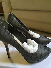 Christian Dior Miss Dior Peep Toe Pumps, US 6.5, Dark Gray Croc Embossed, $590