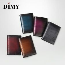 DIMY Handmade Berluti Style Vintage Genuine Leather Patina Engrave Bifold Wallet