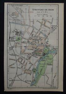 Vintage Map: Stratford on Avon & Lichfield Cathedral, by John Bartholomew, 1957