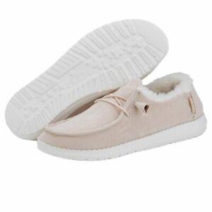 Hey Dude Wendy Corduroy Faux Fur Cream Women's Lightweight Shoes Slip On Casual