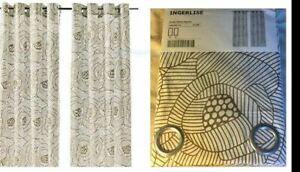 "IKEA Ingerlise""Tan""Beige Brown 2 Curtain Panel Grommet Mod Floral Cabbage Rose"