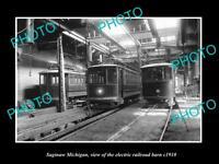 OLD LARGE HISTORIC PHOTO OF SAGINAW MICHIGAN, THE ELECTRIC RAILROAD BARN c1910