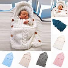 nouveau-né bébé à capuche emmailloter Couverture Chaud Tricot emmitouflant