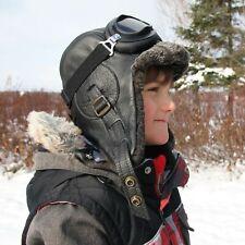 Kids Sheepskin Aviator Hat Winter Children Shearling Pilot Cap Goggles Boy Girl