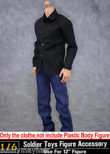 "Black Shirt Jeans Sets 1/6 Scale Casual Suits Fit 12"" Male Action Figure Toys"