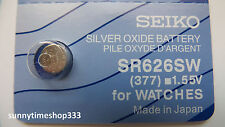 Sr626sw/377 Seiko Watch Battery Made in Japan Silver Oxide 1.55v