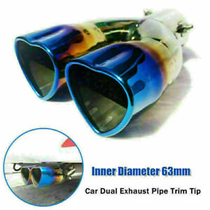 63mm Universal Car SUV Dual Barrel Exhaust Pipe Trim Tip Tail Muffler Stainless
