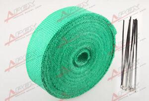 "FIBERGLASS Exhaust Thermo Wrap Tape High Heat 2"" x 1/16X50FT Cloth Roll GREEN G"
