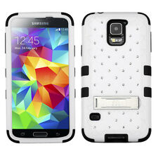 For Samsung Galaxy S5 Hybrid White Black Diamonds Stand Cell Phone Case Cover
