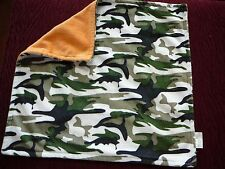 Hobby Lobby Baby's Security Blanket Green Camouflage / Orange Plush EUC