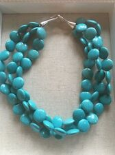 Stella and Dot Triple Strand Coin Turquoise Sea Statement Necklace