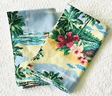 Dan River Pair Tropical Hawaiian Palm Trees Hammock Beach Std Pillow Shams ~ EUC