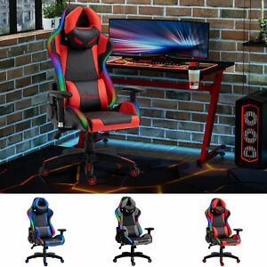 Gaming Office Chair with RGB LED Light, Lumbar Support, Gamer Recliner
