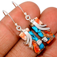 Spiny Oyster & Arizona Turquoise 925 Sterling Silver Earring BE4929 283B XGB