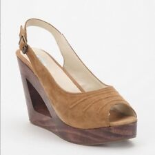 Urban Outfitters Kimchi Blue Wooden Cut Out Suede Leather Wedges Size 9