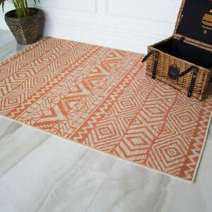Modern Terracotta Orange Flatweave Rugs Thin Indoor Outdoor Washable Budget Rug