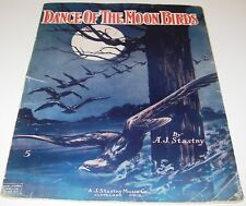 1915 Sheet Music Dance of the Moon Birds by A J Stastny Cover Art Large Format