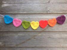 Crochet Rainbow Heart Bunting Handmade String Of Hearts Party Friend Nursery