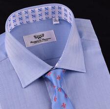 Blue Formal Business Dress Shirt Mens Herringbone Spread Collar Sexy Button Cuff
