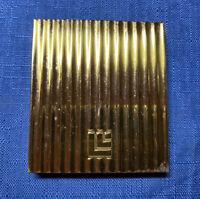 Vintage 1940s Art Deco Gold Tone Brass Compact Powder Mirror Vanity Vtg