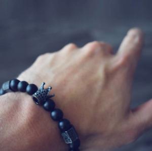 Fashion Mens Bracelets Pave CZ King Crown & Ball Black Lava Stone Bead Bracelets