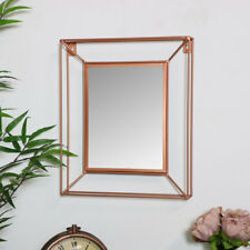 Small Rectangle Metal Copper Colour Framed Wall Mirror Vintage Retro Chic Vanity