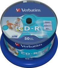 50 Verbatim CD-R 700Mb 80Min 52x Bedruckbar No-ID printable Rohlinge Spindel