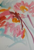 JOSE TRUJILLO ORIGINAL Watercolor Painting Expressionism 6X9 Art Flower Abstract