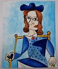 """Cubism Original Painting After Picasso Woman in Hat Gouache & Ink on Paper 8x10"""""""