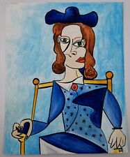 Cubism Original Painting After Picasso Woman in Hat Gouache & Ink on Paper 8x10""