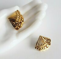 Vintage pierced earrings double fans with rhinestones 80s-90s glam