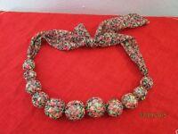 Modeschmuck - Halskette große Perlen mit Stoff überzogen - wohl Handarbeit  /S46