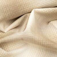 Designer Off White Stone Gingham Check Plaid Soft Curtain Blind Cushion Fabric