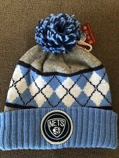 NWT Mitchell   Ness Adult NBA Brooklyn Nets Carolina Blue Argyle Cuffed Pom  Hat 519eb3777197