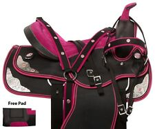 PINK WESTERN PLEASURE TRAIL SYNTHETIC HORSE SADDLE TACK SET PAD 14 15