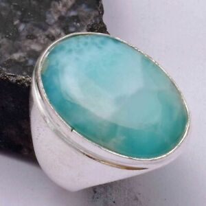 Larimar Ethnic Handmade Men's Ring Jewelry US Size-8 AR 42091