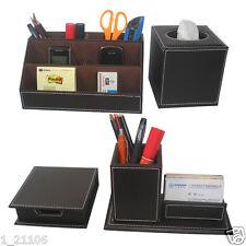 4 PCS/SET Leather Desk Stationery Organizer Card Pen Box Tissue Holder Memo Case