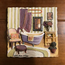 USed C Winterle Olson Wall Art Bathtub Flowers Chair Ceramic Plaque Bathroom
