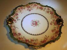 Fancy Old Ornate B&H Limoges Pink Florals With Green & Gold Trim Porcelain Plate