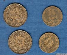 Tunisie Lot de 2 pièces 1921 2 Francs + 1 Franc - Tunisia