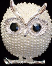 "SILVER WHITE PEARL OMEGA BRANCH HOOTIE HOOT OWL BIRD PIN BROOCH JEWELRY 1.75"" 3D"