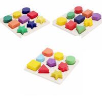 Wooden Geometry Block Puzzle Montessori Educational Preschool Toy Children Kids