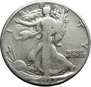 1942 WALKING LIBERTY Half Dollar Bald Eagle United States Silver Coin i44708