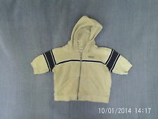 Baby Boys 3-6 Months - Stone Coloured with Navy Blue Zip-Up Hoodie - Next