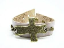 Lenny & Eva Antiqued Pink Mauve Leather Cuff Bracelet Brass Cross Religion Faith