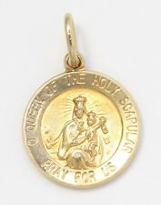 14k Yellow Gold Virgin Mary And Jesus Round Charm Necklace Pendant