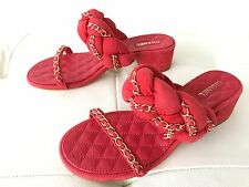 2017 $1K CHANEL RED SUEDE GOLD CHAIN SANDALS MULES SIZE 38.5