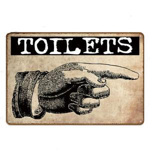 Metal Sign Toilets Arrows Vintage Aluminum Retro Funny Restroom Sign Washroom
