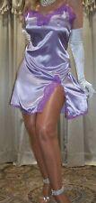 Vtg Style Lilac Side Slit Slip on Lace Satin Babydoll Nightgown Chemise 36 M